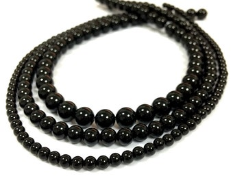Black Onyx Beads Black Beads Natural Black Beads Black Onyx 2mm 3mm 4mm Beads Gemstone Beads Black Onyx tiny Beads Black Onyx Spacer Beads