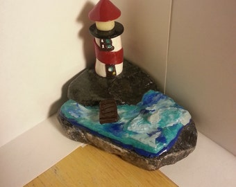Polymer clay lighthouse scenery