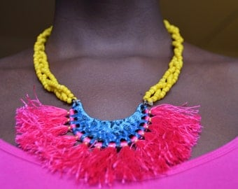 Colorful Necklace with Pink Ruffle Centerpiece