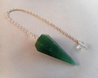 Green Adventurine Faceted Dowsing Pendulum - #074