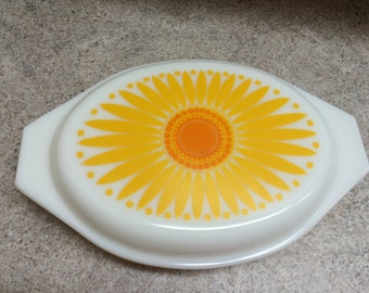 Vintage Pyrex Daisy Divided Dish, Pyrex Sunflower