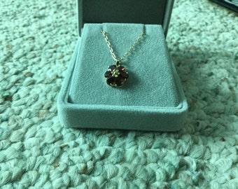 Garnett and Gold Necklace pendant