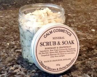 Lemon, Grapefruit & Rosemary Salt Scrub (Mineral Salts, Bath Salts, Salt Scrub, Essential Oils, Mothers Day Gift, Easter, Bath Soak)