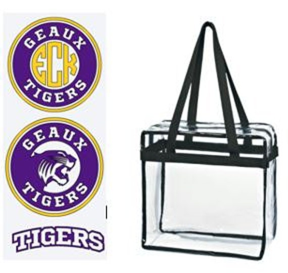 Geaux Tigers LSU Custom Monogram/ Personalized Game Day Clear Tote Bag with Zipper Closure