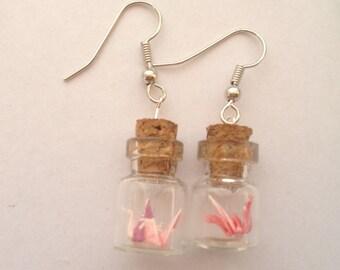 origami crane earrings in bottle-crane in bottle