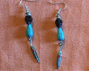 Black and Turquoise Skull Feather Earrings