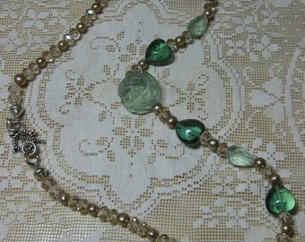 Green Fluorite Hearts, Topaz Crystals & Bronze Freshwater Pearl Necklace