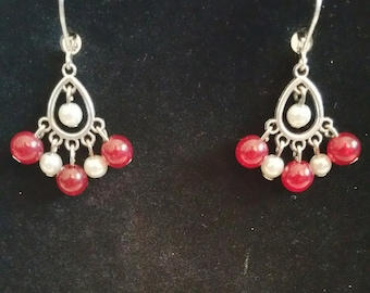 Red And White Bead Charm Drop Earrings