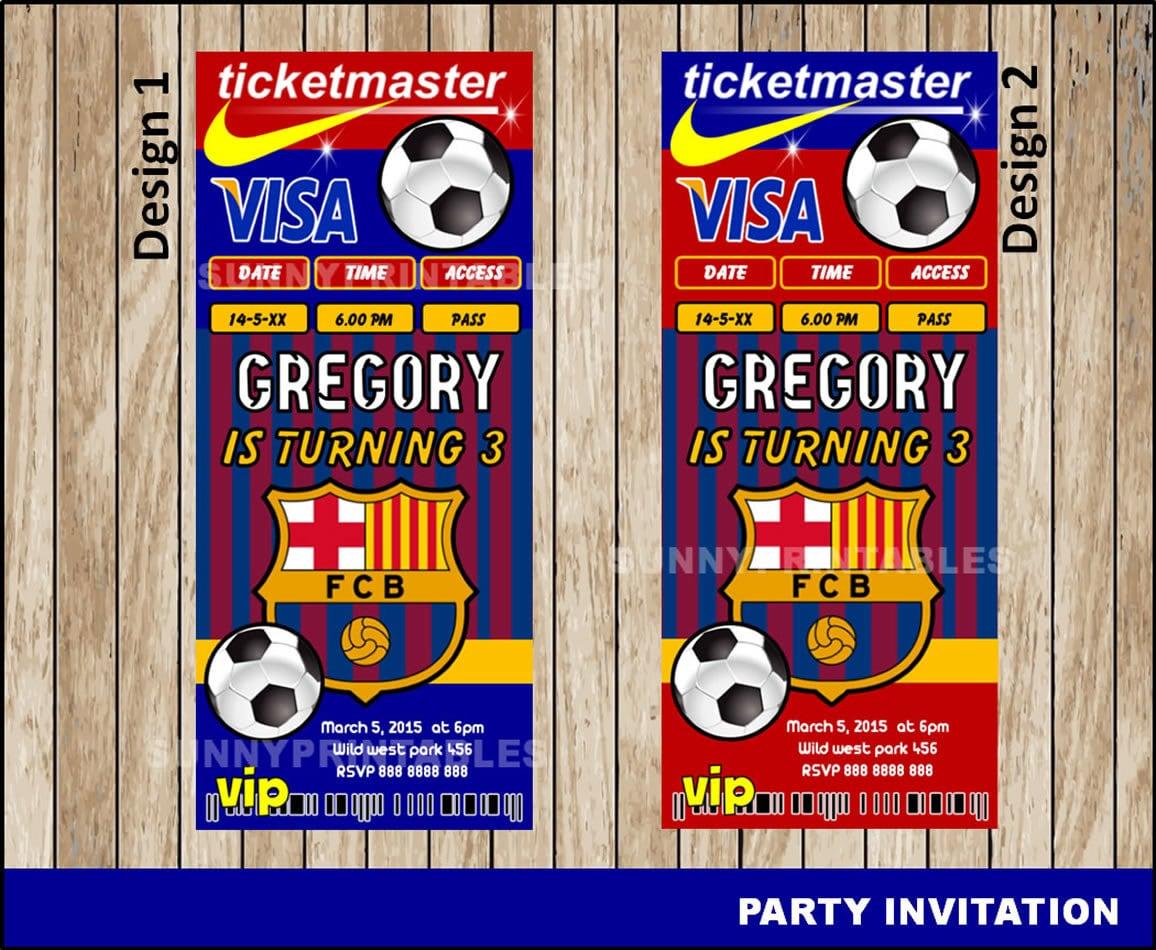 Invitación de FC Barcelona invitación de cumpleaños FC