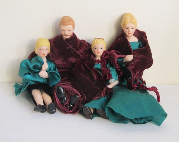 Vintage bisque dolls set 1:12, hard porcelain oldfashioned atomic family group, Victorian Edwardian style family doll house puppets