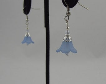 Light Blue Flower Dangling Earrings