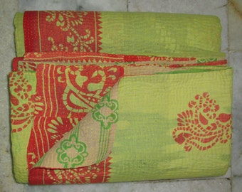 Vintage Original Heavy Kantha Quilt, Beautiful Exclusive Handmade Cotton Traditional Indian Gudri, Blanket, Bedspread, Throw, Free Shipping