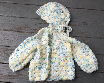 Baby Sweater Set - White/Blue/Yellow Sweater and Hat - FREE SHIPPING