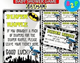 Batman Baby Shower Diaper Raffle Inserts, Printable Baby Shower Diaper Raffle, Batman Diaper Raffle Sign & Tickets, Instant Download - b01