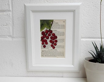 Culinary Book Print - Antique Mrs Beetons Cookery Book Botanical Image Art Print - Redcurrant Image Kitchen Decor - New Home Decor