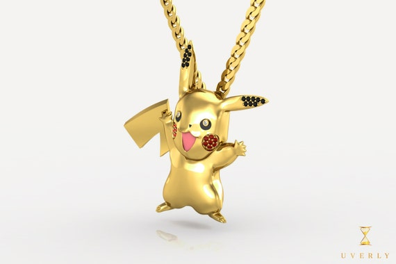 14k 18k Solid Gold Pikachu Pokemon Diamond Pendant