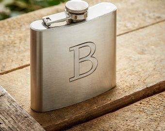 Stainless Steel Flask with Engraving - Personalised with Initials – Gifts for Men