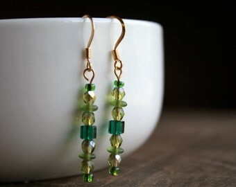 Swarovski Crystal Green Beaded Earrings, Green Beaded Dangle Earrings, 14K Gold Earrings, Swarovski Crystal Earrings, Swarovski Earrings