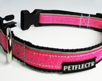 Pink Glitter Reflective Dog Collar
