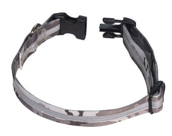 Grey Camo Reflective Dog Collar