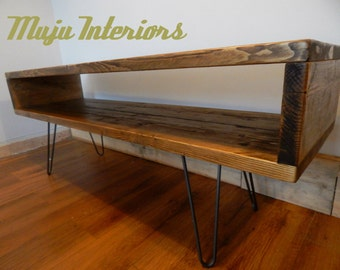 TV Unit /TV  Stand Industrial Rustic Reclaimed Wood Hairpin Legs