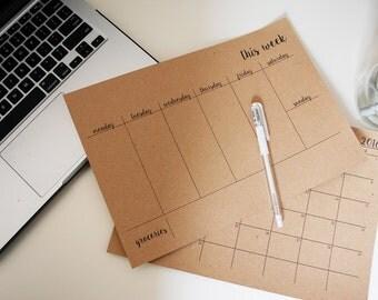 Weekly Meal Planner, Simple Meal Planner, Minimalist Planner, Handwritten Meal Planner
