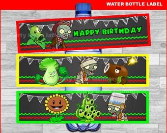 Plants vs Zombies water bottle labels Instant download, Plants vs Zombies Chalkboard water labels, Plants vs Zombies party water labels
