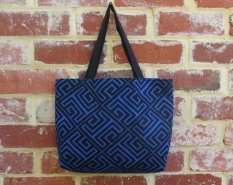 Geometric Fabric Beach Bag - Shopping Tote, Shoulder Bag, Funky Handbag, Carry All Tote, LoadedBobbins