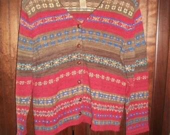 Vintage Multi-Color Fairisle Cotton Blend Cardigan size PM
