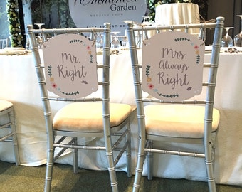 Mr And Mrs Sign Wedding Chair Signs Set
