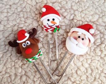 Bookmark Christmas set Santa Claus School Paper clips Paper clips set Moose Snowman Holiday gifts Children's gifts Christmas Christmas decor