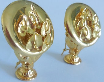 Buckles of ears flowers gold 18cts, 750