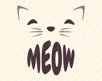 Meow svg Cat SVG Pet svg Meow Svg Cameo cutting file SVG Meow Cut File Kitty svg Silhouette SVG Meow Cricut Dxf Cut File Vector cricut file