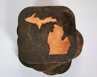 Set of four wood, Michigan mitten coasters