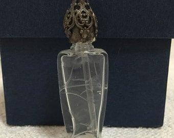 Vintage sketched glass perfume bottle, vintage perfume bottle