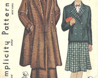 """1930s Vintage Sewing Pattern B32"""" Suit - Swagger Coat Jacket and Skirt  (1739)  Simplicity 1815"""