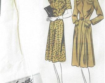 1940s Vintage VOGUE Sewing Pattern B34 DRESS & COAT (1111) Vogue 370