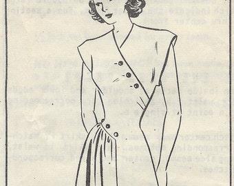"1940 Vintage Sewing Pattern B34"" DRESS (R729) Alders Paper Pattern"