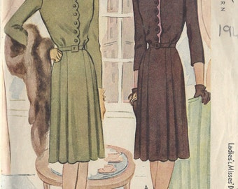 "1943 Vintage Sewing Pattern B38"" DRESS (86) McCall  5402"