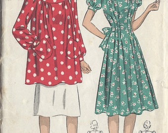 "1940s Vintage Sewing Pattern B34"" DRESS & SMOCK (237) By Du Barry  2487B"