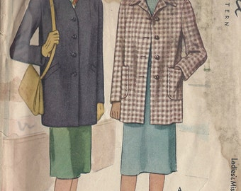 "1944 Vintage Sewing Pattern B32"" COAT (139) McCall 5609"