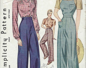 1940 Vintage Sewing Pattern B42-W36 BLOUSE-TROUSERS-OVERALLS (1229) Simplicity 3322