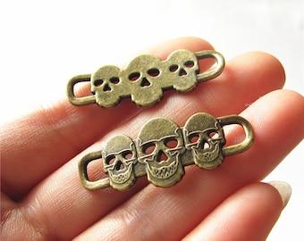 Skulls Charm Link Antique Brass Connector Handmade Jewelry Finding 16x39mm 2 pcs