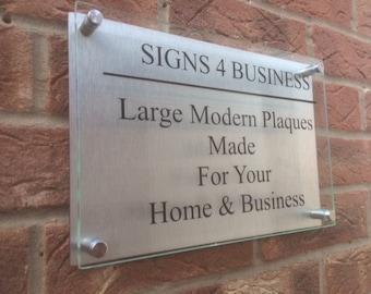Modern A4 business plaque / house sign glass acrylic aluminium