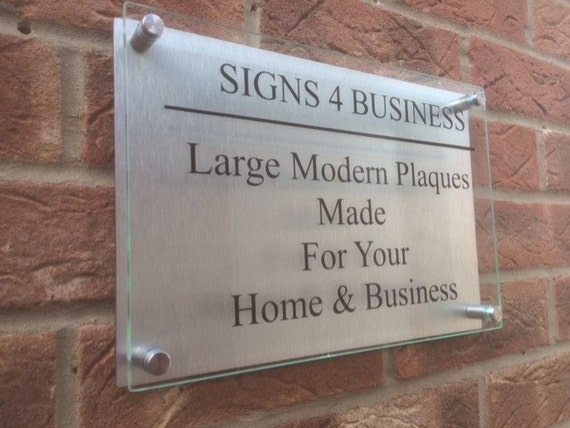 modern a4 business plaque house sign glass acrylic aluminium. Black Bedroom Furniture Sets. Home Design Ideas