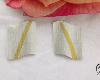 Silver earrings with fine gold stripes