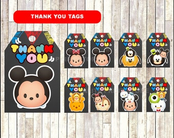 Tsum Tsum Chalkboard Thank you tags, printable Tsum Tsum party tags,  Chalkboard Tsum Tsum thank you tags- Instant download