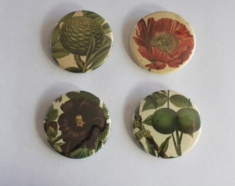 Botanical Pin Back Buttons
