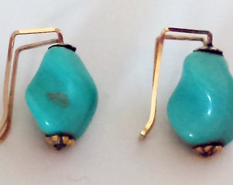 Turquoise Nugget Earrings, Slide On