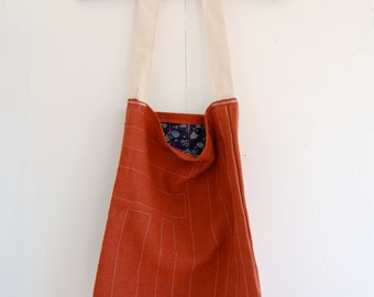 Burnt Orange Linen Tote Bag Purse with Stitched Detail